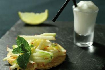 Tarte fine aux pommes Ariane crues marinées façon Mojito