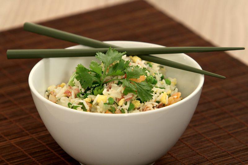 Salade de riz, pomme Ariane et jambon façon asiatique