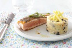 Mi-cuit de saumon, écrasé de pommes de terre à l'olive, croquant de pomme Ariane au citron vert