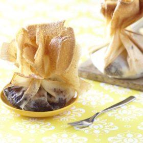 Aumonière de boudin noir aux pommes Ariane et pain d'épice