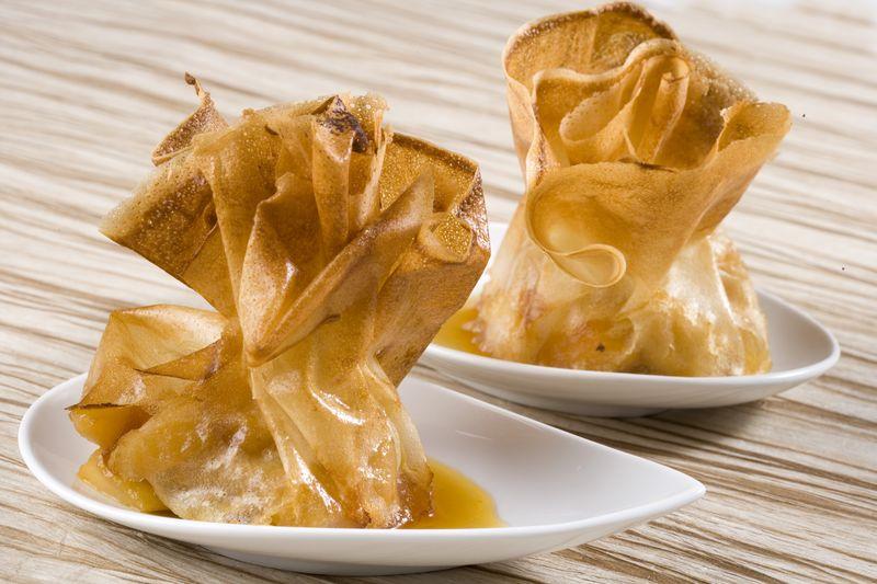 Aumonière croustillante de pomme Ariane et d'abricots secs