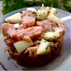 Tartare de saumon pomme et agrumes