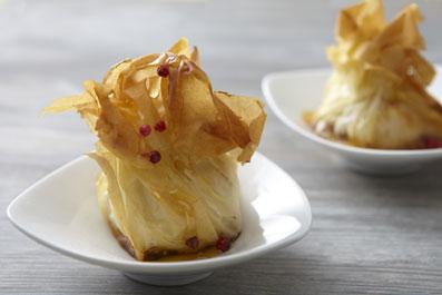 Aumonière de camembert et compote de pommes