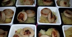 Pommes Ariane et boudin blanc sur lit de pain d'épices