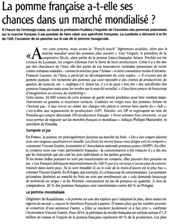 Retombées Agra Presse 10 ans Ariane